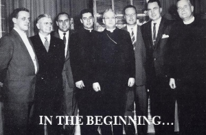 left to right:Lou Parsons, Vince Coglan, Ray McPherson, Rev. John Mullins, Bishop Allen, Jim Goddard, Paul Grace, Rev. P